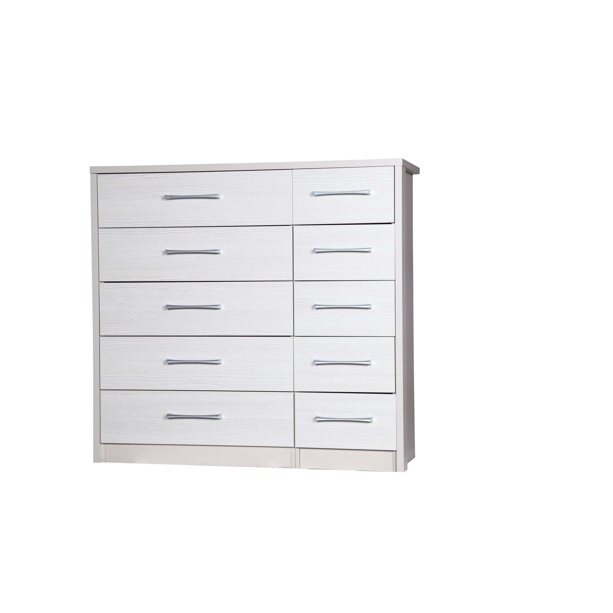 Alto Furniture Avola 10 Drawer Double Chest - Cream Carcass With White Avola at Tesco Direct