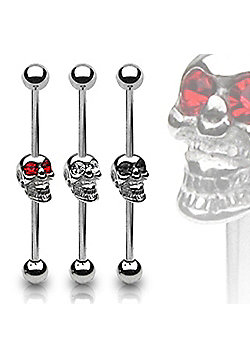 Urban Male Surgical Steel Scaffold Barbell CZ Gem Skull in Red
