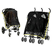 Content&Calm ProtectiShade Buggy Pushchair Shade & Insect Mesh, Black/Green