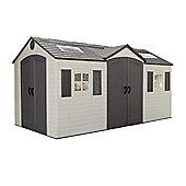 15ft x 8ft Duramax Plus Double Entrance Plastic Apex Shed with Plastic Floor + 2 windows (4.57m x 2.43m)