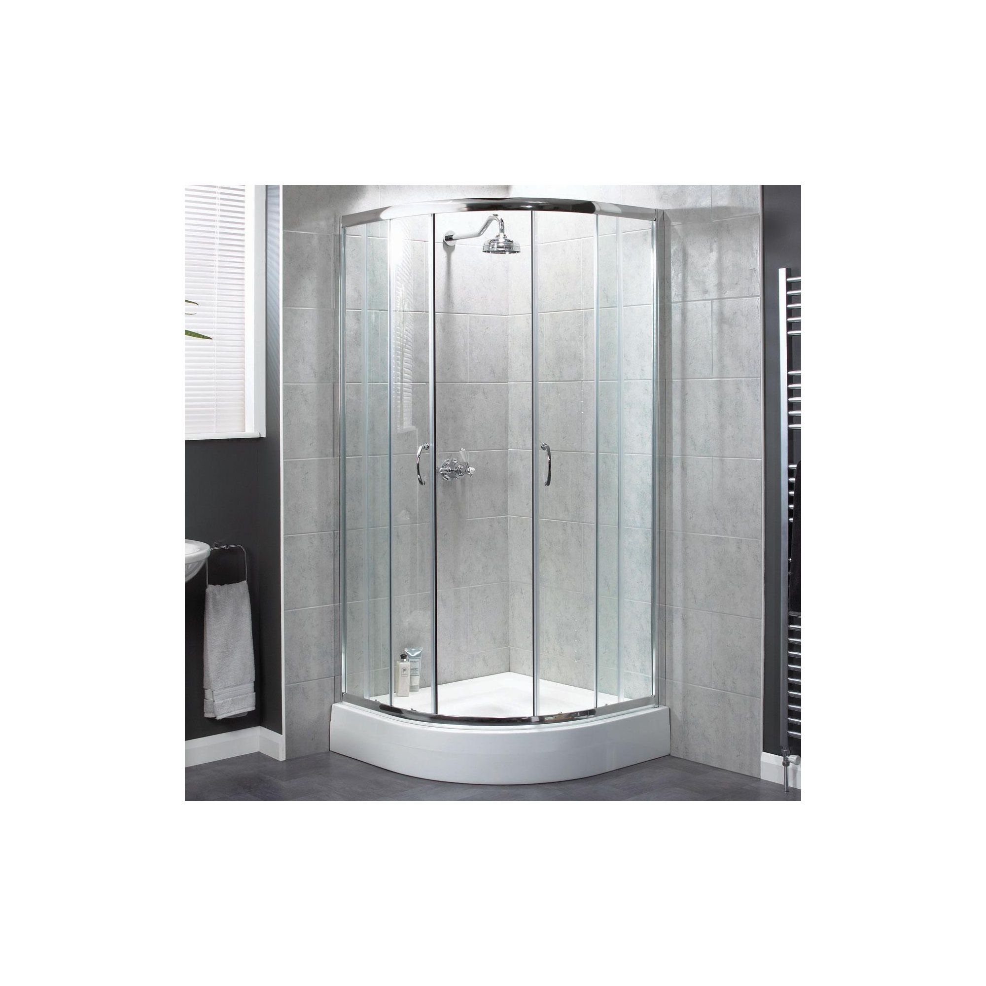 Aqualux Shine Quadrant Shower Door, 900mm x 900mm, Polished Silver Frame, 6mm Glass at Tesco Direct
