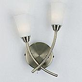 Endon Lighting Two Light Wall Light in Antique Brass