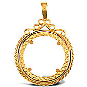 Jewelco London 9ct Solid Gold casted full-size Scroll top rope design Sovereign coin pendant mount