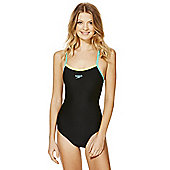 Speedo Endurance®10 Contrast Trim Muscle Back Swimsuit - Black