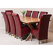 Vermont Solid Oak Extending 200 - 240 cm Dining Table with 8 Burgundy Montana Leather Chairs