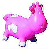 Betsy inflatable cow space hopper - pink & white
