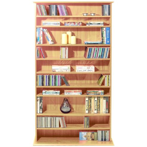 Techstyle Large CD / DVD / Video Multimedia Storage Shelves - Pine