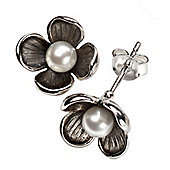 Oxidised Silver Petal Pearl Flower Earrings