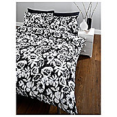 Tesco Mono Floral King Size Duvet Set, Black & White