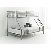 Happy Beds Cherry 3ft 4ft6 Kids Silver Metal Bunk Bed Triple Sleeper 2x Orthopaedic Mattress