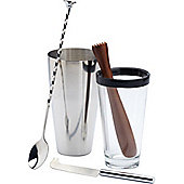 Bar Craft Luxe Lounge 4 Pc  Mojito Cocktail Set, Shiny Stainless Steel
