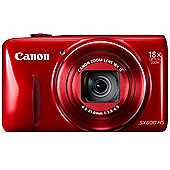 "Canon Powershot SX600 HS Digital Camera, Red, 16MP, 18x Optical Zoom, 3"" LCD Screen, Wi-Fi"