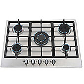 SIA 70cm 5 Burner Gas Hob In Stainless Steel With Wok Burner & LPG Kit