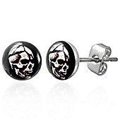 Urban Male Stainless Steel 7mm Skull Design Stud Earrings