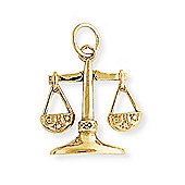 Jewelco London 9ct Light Yellow Gold - Libra Charm Pendant -