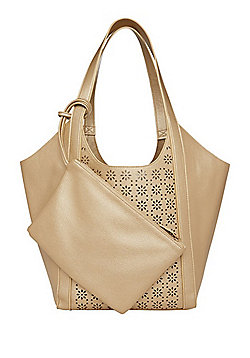F&F Floral Laser Cut Bucket Bag with Zip Purse