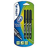 Pilot Vball Rollerball Pens, Black, 3 pack