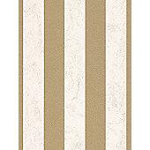 Carat Glitter Stripe Wallpaper - Cream and Gold - 13346-70