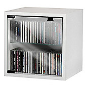 VCM Quattro Wall Mounted CD / DVD Storage Box with Glass Door - Beech