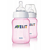 Philips Avent Classic+ Feeding Anti-Colic Bottle 260ml/9oz Twin Pink SCF564/27