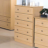 Welcome Furniture Pembroke 5 Drawer Chest - Beech