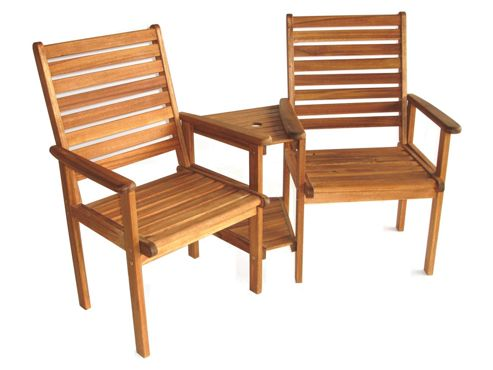 Napoli Wooden Garden Companion Seat, Acacia, 2 seater