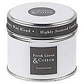 Fresh Linen and Cottont Candle in a Tin