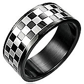 Urban Male Black Stainless Steel Checker Board Men's Ring 8mm Band Size Z4