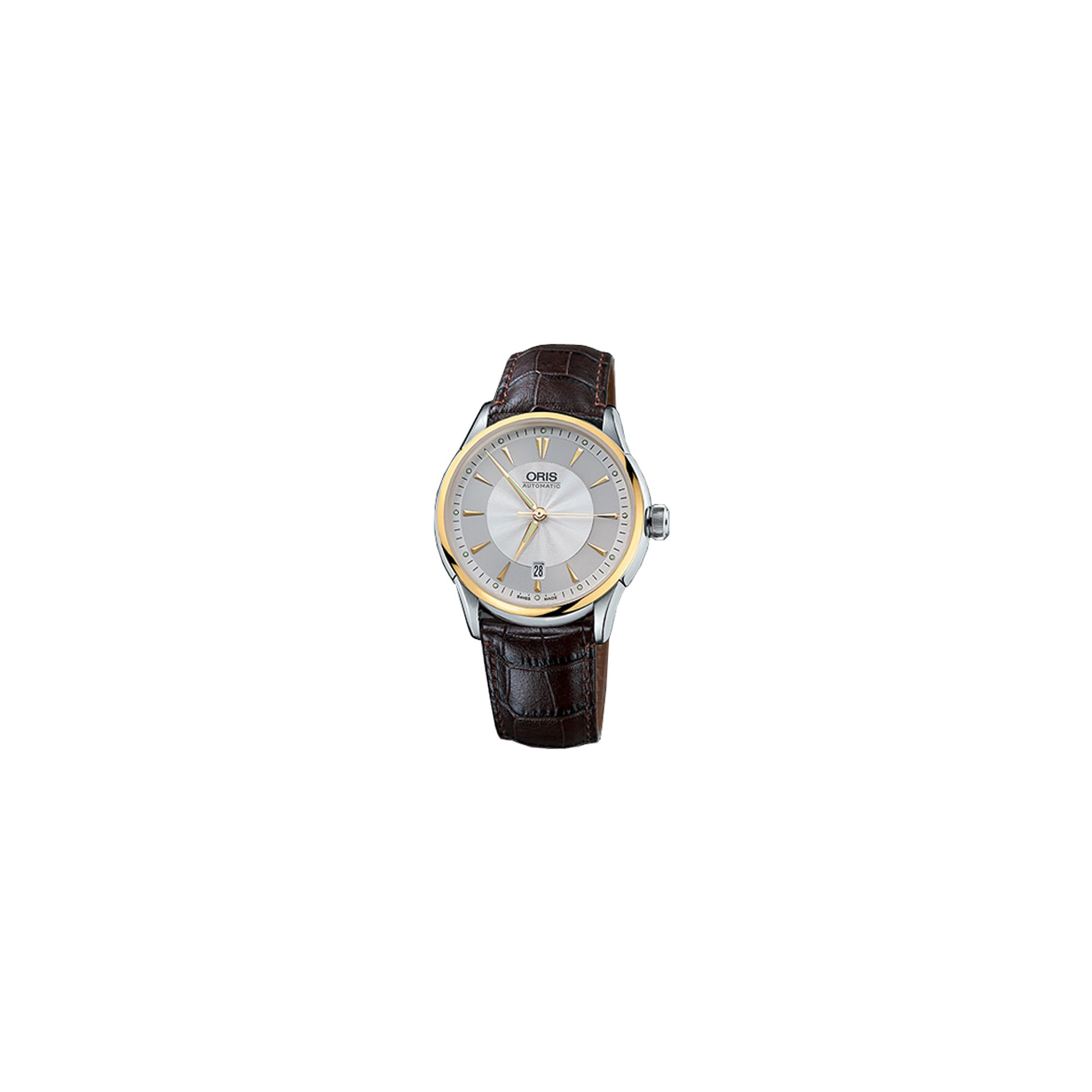 Oris Gents Artelier Brown Leather Strap Watch 73376294063LS at Tescos Direct
