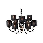 UK Made Bronze Pendant Light with Black String Shades
