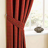 Homescapes Red and Diamond Pattern Matching Curtain Tiebacks