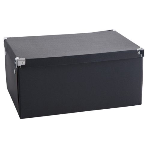 Black Cardboard Storage Box 2pk Large