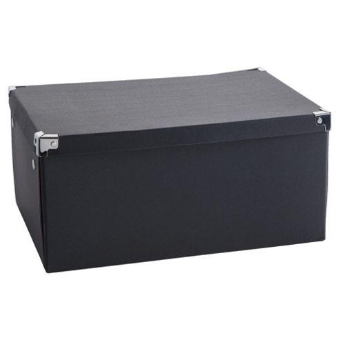buy black cardboard storage box 2pk large from our boxes. Black Bedroom Furniture Sets. Home Design Ideas