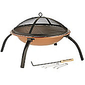 VonHaus Copper Effect Fire Pit Folding Garden BBQ Bowl Outdoor Camping Log Charcoal Patio Heater with Carry Bag