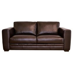 Naples Leather Medium Sofa, Chocolate