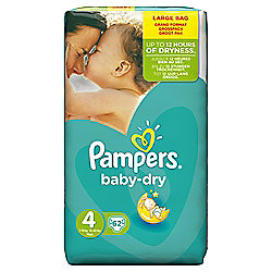 Pampers Baby Dry Size 4 Large Pack - 62 nappies