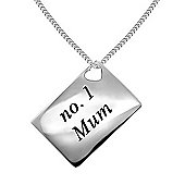 No 1 Mum Silver Diamond Letter Pendant