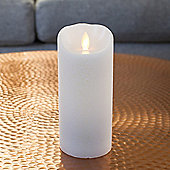 Large White Glitter Battery Dancing LED Flame Candle