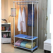 Candie - Open Wardrobe / Clothes Storage Rail - Blue / White