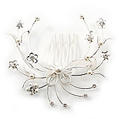 Bridal/ Wedding/ Prom/ Party Rhodium Plated Clear Swarovski Crystal/ Pearl Floral Hair Comb - 75mm