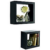Box - Set Of Two Wall Storage / Display Cubes - Black