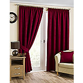 Brook Ready Made Curtains Pair, 66 x 90 Cranberry Colour, Modern Designer Look Pencil pleated curtains
