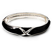 Jet Black Enamel Crystal Cross Hinged Bangle Bracelet (Silver Tone)