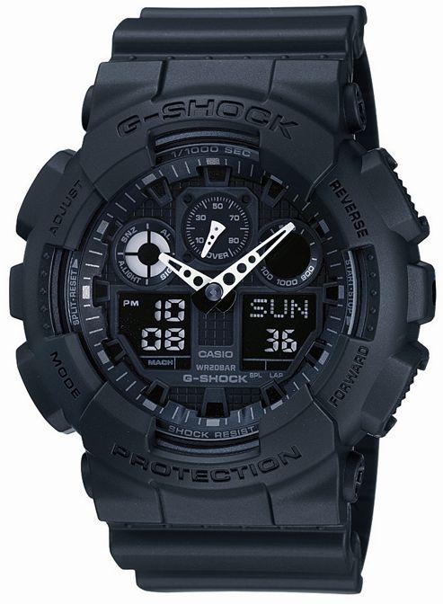 Casio G-Shock Mens Rubber Chronograph Watch GA-100-1A1ER