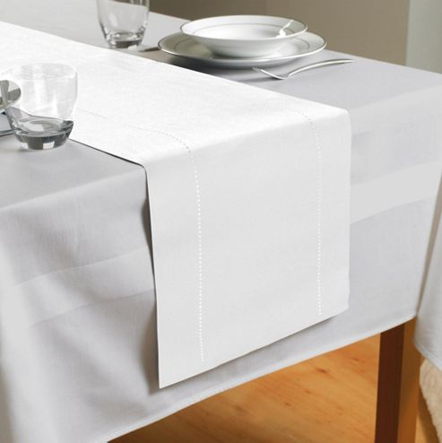 Country Club Hem Stitch Table Runner in White