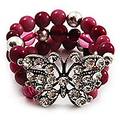 3 Strand Purple Bead Butterfly Flex Bracelet - 17cm Length