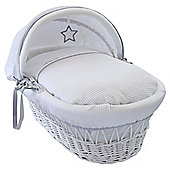 Clair de Lune White Wicker Moses Basket (Silver Lining)