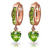 QP Jewellers 4.10ct Peridot Heart Huggie Earrings in 14K Rose Gold