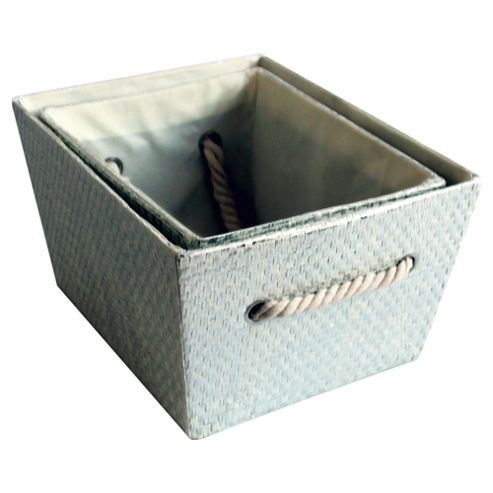 buy tesco 2 set metallic storage boxes from our basin. Black Bedroom Furniture Sets. Home Design Ideas