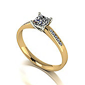 9ct Gold 4.0mm Square Brilliant Moissanite Single Stone Ring with Moissanite Set Shoulders